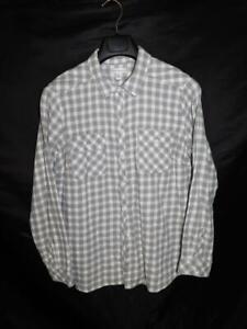 Croft-amp-Barrow-XL-Gray-White-Plaid-Flannel-Shirt-Long-Sleeve-Button-Front-Woman
