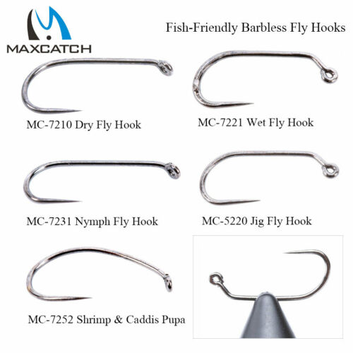 18# Fish-Friendly Barbless Fly Tying Hooks Dry/&Wet/&Nymph Maxcatch 100pcs 10#
