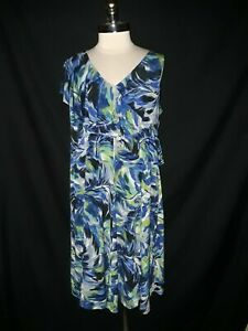 LONDON TIMES Plus Size 2X Shift Dress Blue Gray Tropical Ruffle Sleeveless