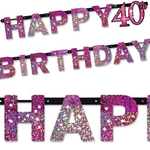 Glitzernde Buchstabenkette Alter 40 in pink 2,13m Raumdeko