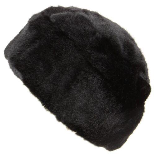 Hawkins Thick faux fur Pill Box hat Black