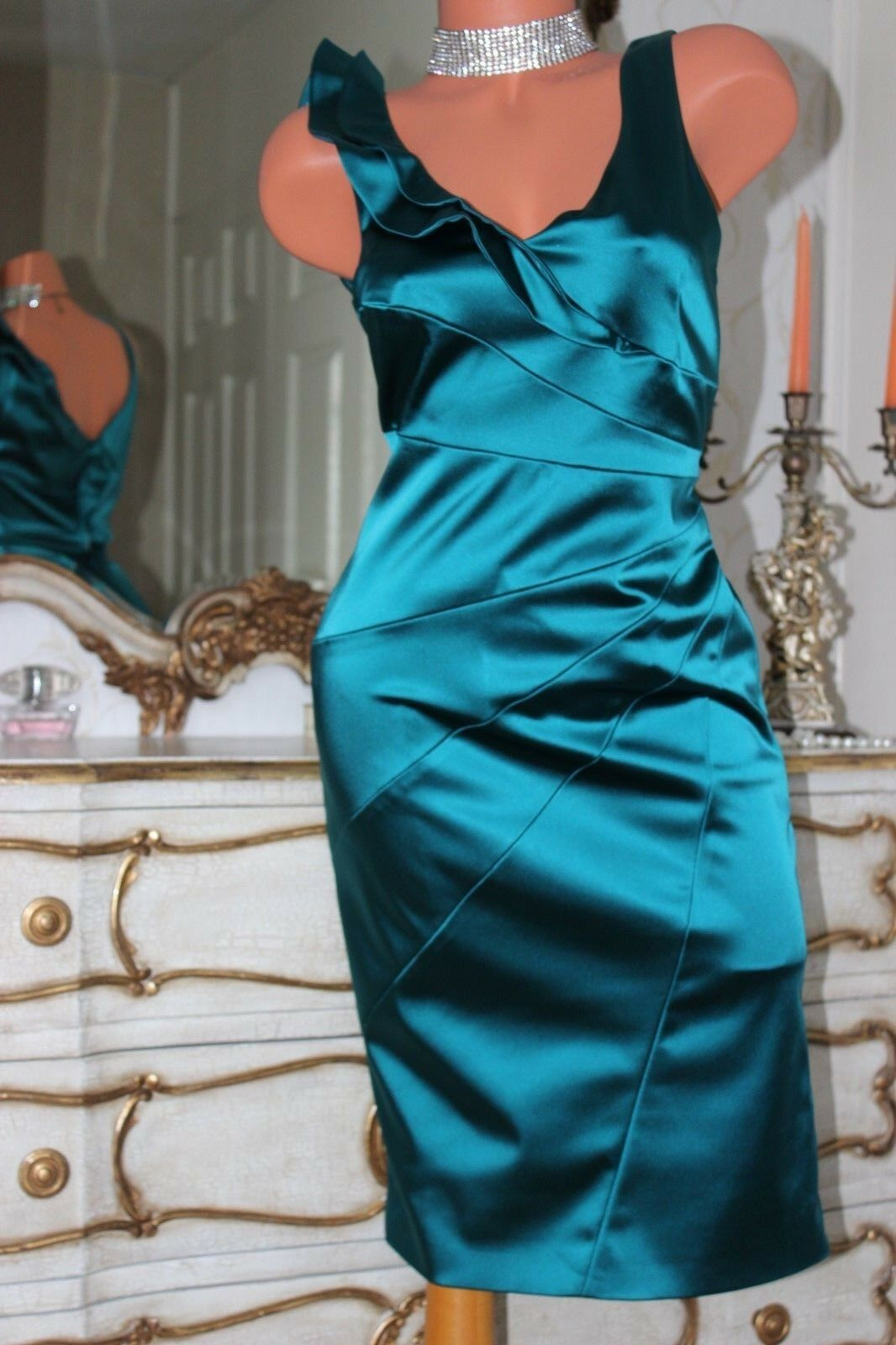 COAST Ladies Emerald Green Shiny Faux Satin Fully Lined Party Dress in Size 10