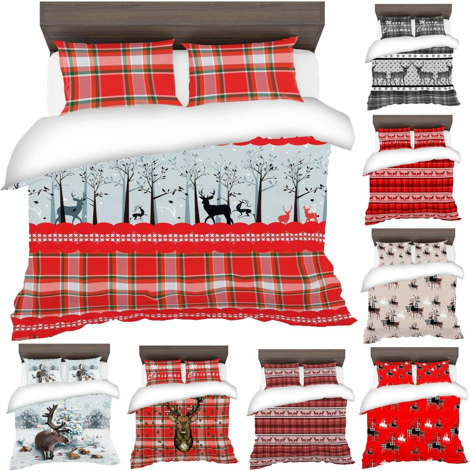 3D Father Christmas Tree Santa Claus Reindeer Stag Quilt Duvet Cover Bedding Set