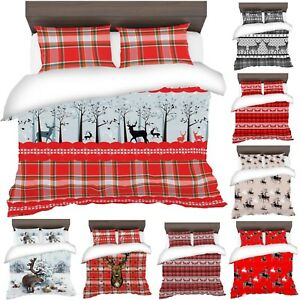 3D-Father-Christmas-Tree-Santa-Claus-Reindeer-Stag-Quilt-Duvet-Cover-Bedding-Set