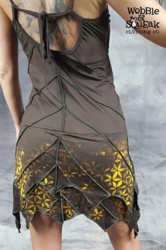 LEAF DRESS Flower of Life Sacred Geometry Pixie Hippy Layered Psytrance Festival