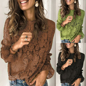 Women-039-s-Tops-Bell-Sleeve-Shirt-Lace-Blouse-Loose-Floral-Eyelet-Hollow-Tee-Casual
