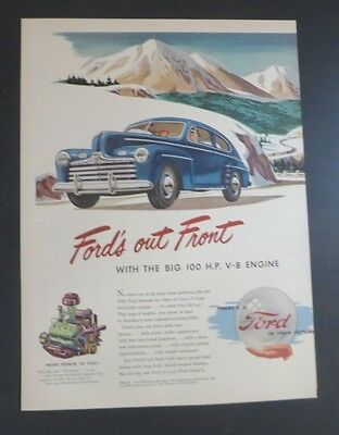 Original Print Ad 1946 Ford's Out Front Mountains Art Ford In Your Future Merchandise & Memorabilia Collectibles