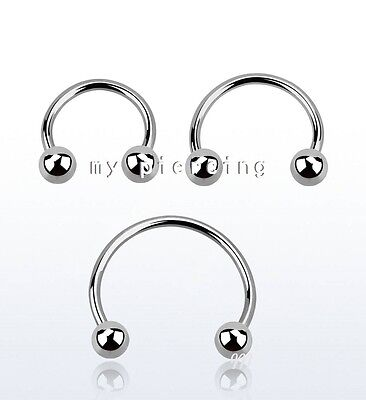 12mm Covet Jewelry Basic Spike Top Steel Horseshoe Circular Barbell , Ball: 5mm 14GA, Length: 1//2