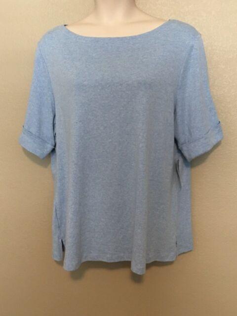 NEW Karen Scott Top Shirt Plus Size 3X Cotton Cuffed-Sleeve Light Blue Heather