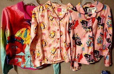 Dreamworks Trolls Girls 4T Poppy and Suki Flannel Coat Pajama Set