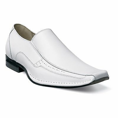 Stacy Adams Mens White Templin Leather