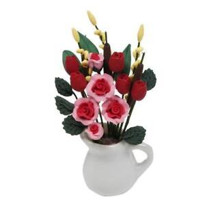 1-12-Puppenhaus-Miniatur-Pflanzen-Tulpen-Blume-mit-Rose-Keramik-Topf-Zimmer-S8B9