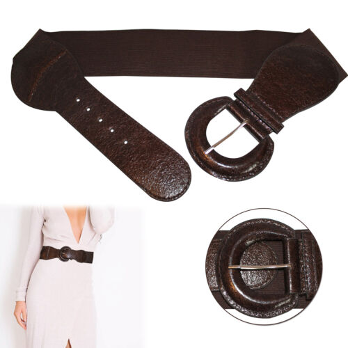 Ladies Elasticated PU Leather 45mm Wide Waistband Girls Fashion Wear Accessory