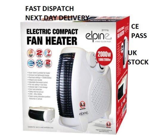 ELPINE 2000W piatto o in posizione VERTICALE VENTILATORE STUFA controllo del termostato con 2 regolazioni di calore