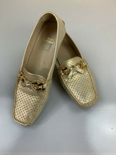 STUART WEITZMAN Perforated Gold Leather Loafers 8.