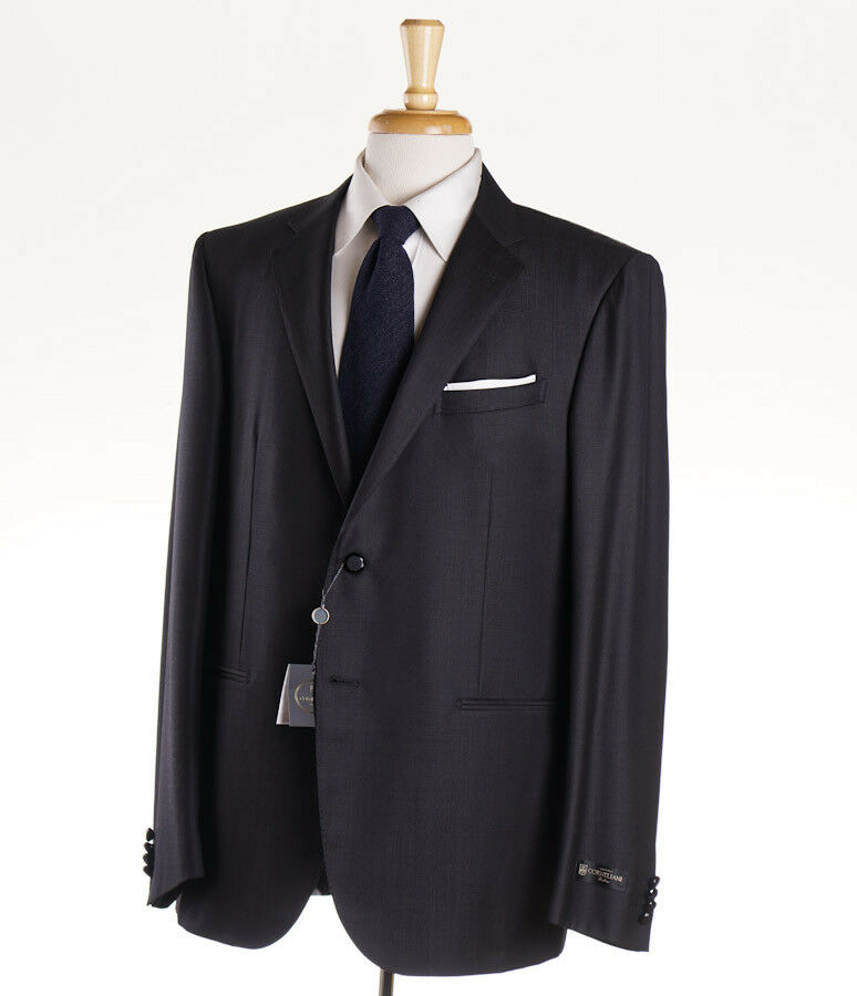 NWT 1975 CORNELIANI Charcoal grau Micro Stripe Super 130s Wool Formal Suit 44 R