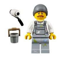 LEGO CITY PAINTER Roller Bucket Gray Hat Mustache MINIFIGURE