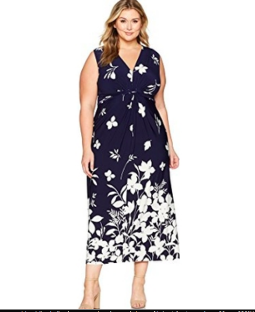 Eliza J Floral-Print Knot-Front Maxi Dress Navy/white Plus Size 16W
