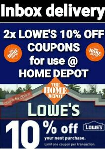 2 X Lowes 10 Off Home Depot Coupono Works Lowes Competitiors Only Exp 9 13 20 Ebay