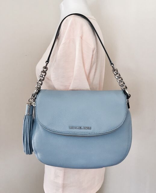 Michael Kors Bedford Medium Tassle Convertible Blue Shoulder Bag
