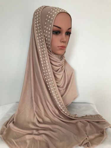 Premium JERSEY Stretchable Rectangle Scarf with rhinestone and pearl  170x60 cm
