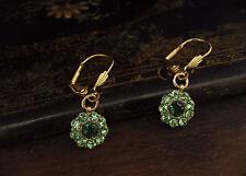 Vintage Peridot & Emerald Green Crystal Drop Pierced Earrings