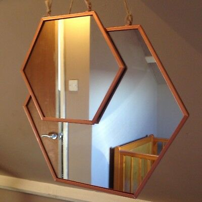 Pair of Rustic Retro Vintage Copper Hanging Mirrors Rose Gold Trending