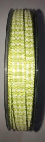 Karoband 20 m x 8 mm Limone Grün Vichy Schleifenband  Geschenkband Deko