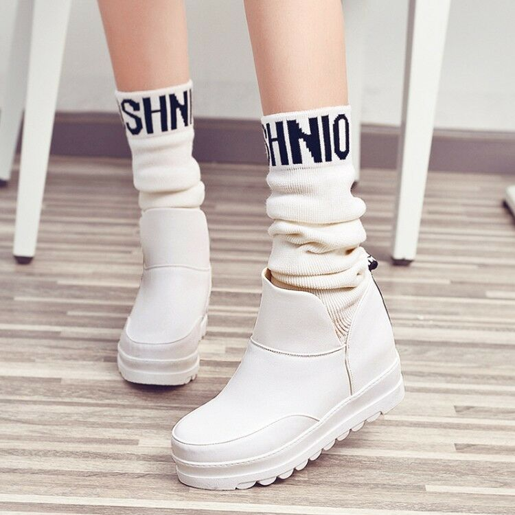 Ladies Winter Ruched Sock Knit Elastic Mid-Calf Boots Girls Hidden Wedged shoes