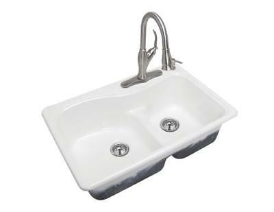 Glossy White 33 Kitchen Sink Cast Iron Top Mount 4 Hole 2 Bowl Self Rimming Ebay