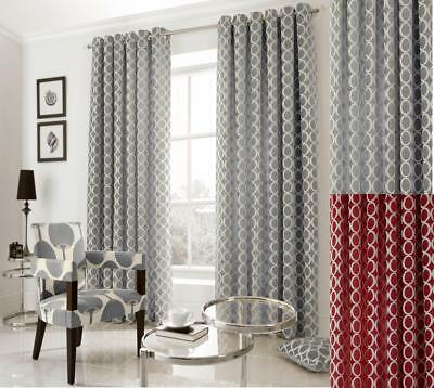 Oh Chenille Retro Jacquard Lined Ring Top Eyelet Curtains ~many Colours/sizes 100% Original Window Treatments & Hardware Home & Garden