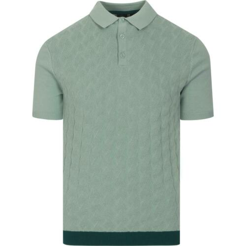 MENS MERC LONDON KNITTED CABLE KNITTED COTTON POLO SHIRT HALMORE SEA GREEN