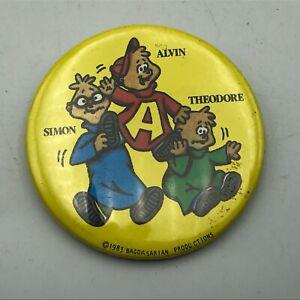 "1983 Alvin Simon Theodore The Chipmunks 2-1/4"" Button Pin Pinback Vintage  R5"