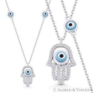 Hamsa-Hand-Evil-Eye-Bead-Charm-CZ-Crystal-925-Sterling-Silver-Pendant-amp-Necklace