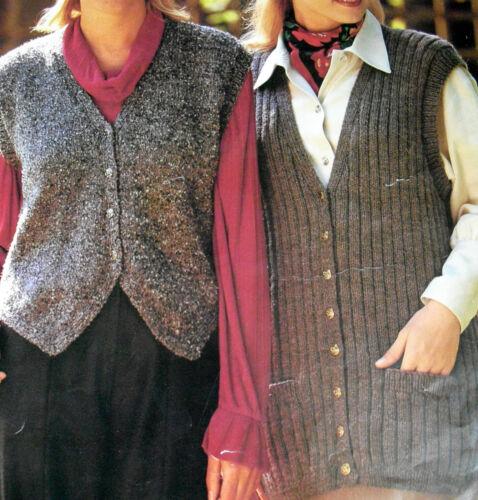#38 Damas Aran largo y corto Waistcoats 32-46 81-117cm Tejer patrón
