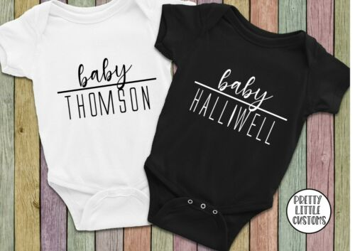 baby shower gift Personalised baby your surname vest pregnancy announcement