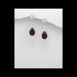 Large-Formal-Sterling-Silver-Earrings-Tear-Drop-Style-with-RED-Cubic-Zirconia