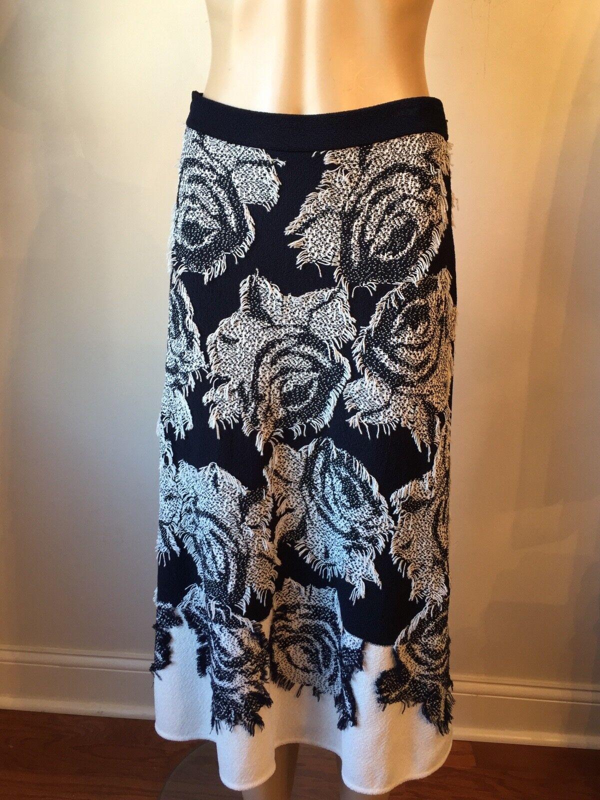 NWT St John knit skirt size 8 navy & white tweed