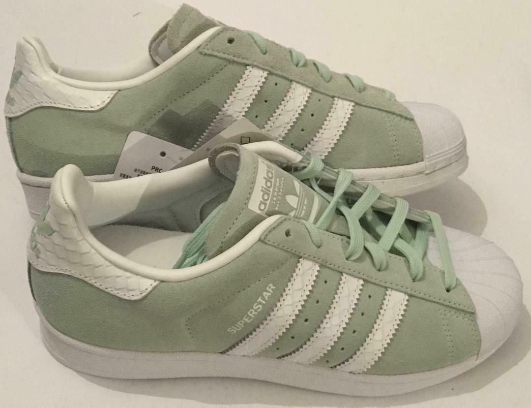 ADIDAS SUPERSTAR TRAINERS - MINT SUEDE - WOMEN'S SIZES UK 3.5 TO UK 5 -BRAND NEW