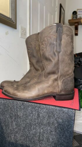 mens brown leather boots 12