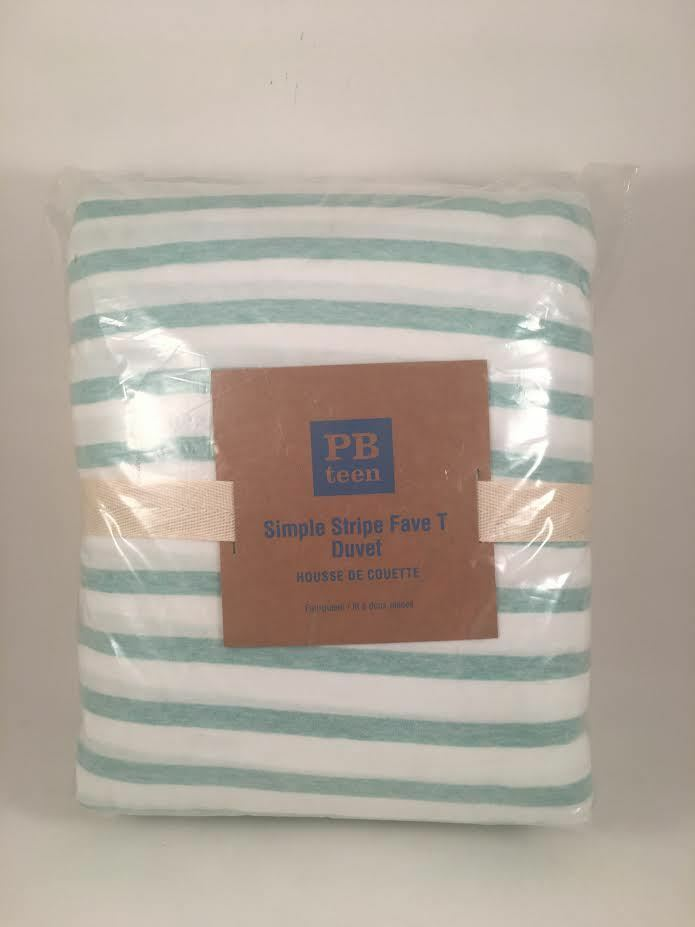 Pottery Barn Teen Simple Stripe Favorite T Full Queen F Q Duvet Cover Light Pool