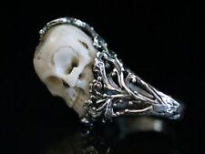 Victorian Memento Mori Totenkopf Schädel Skull Bone & Silver 925 Ring