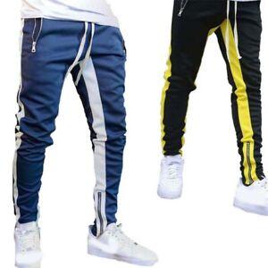 Fit-Zipper-Pants-Workout-Mens-Tapered-Sweatpants-Pockets-Gym-Slim-Jogger-Fitness