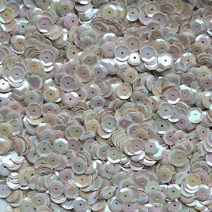 8mm Cup Sequins Facet Paillette ~ Pink Rose Crystal Rainbow Iris ~ Made in USA