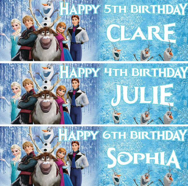 2 x personalised disney themed birthday banner nursery children party decoration