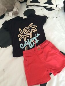 3211ebb21c64 ZARA Baby Boys Summer Set Outfit T Shirt Top Red Shorts 12-18 Months ...