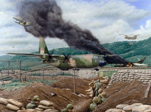 """Battle of Khe Sanh /""""Mortar Magnets/"""" Don Feight C-130 Open Print Vietnam War"""