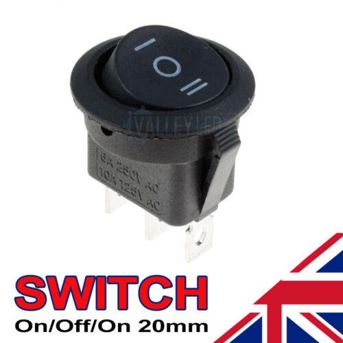 On//Off//On Black Round Rocker Switch Car Automotive 20mm SPDT 2 Way Dash