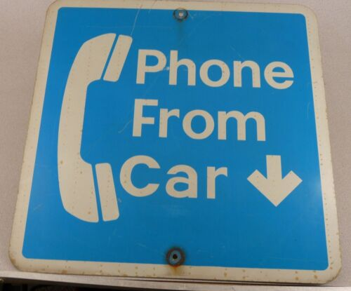 """Vintage 1 Sided Phone From Car Telephone Wall Sign 24/"""" by 24/"""" Free Shipping"""