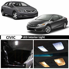 8x White Interior LED Lights Package for 2013-2015 Honda Civic Sedan Coupe TOOL